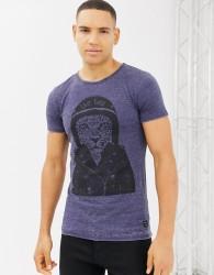 Blend slim fit t-shirt with motorbike tiger - Blue