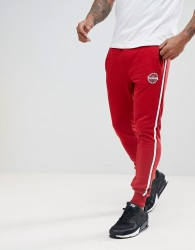 Blend Slim Side Stripe Joggers in Red - Red