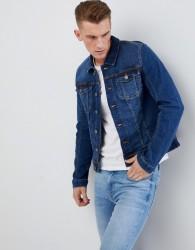 Blend Stretch Denim Jacket in Mid Wash - Black