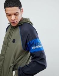 Blend Stripe Sleeve Lightweight Jacket - Green