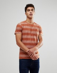 Blend Stripe T-Shirt in Rust - Brown