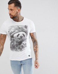 Blend t-shirt in panda print - White
