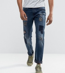 Blend Twister Slim Fit Patches and Badges Dark Wash - Navy