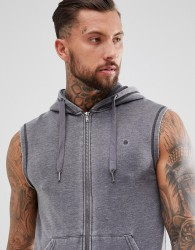Blend wash out sleeveless hoodie - Grey