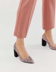 Blink pointed block heeled shoes in snake - Beige