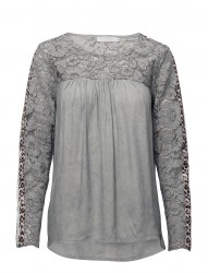 Blouse W. Lace And Leopard Stribe
