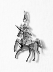 Blue Billie Unicorn Charm Vedhæng Sølv