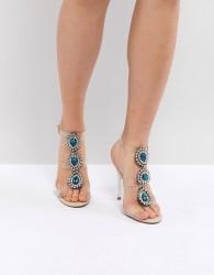 Blue By Betsy Johnson Sylvi Clear Embellished Heeled Wedding Sandals - Pink