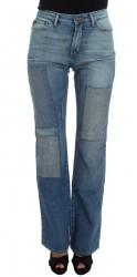 Blue Wash Cotton Slim Fit Bootcut Jeans