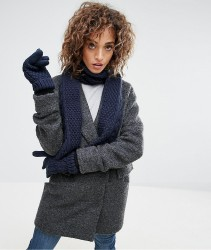Boardmans Knitted Scarf and Gloves Set - Navy