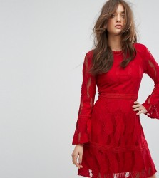 Boohoo Flare Sleeve Lace Insert Dress - Red