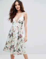 Boohoo Floral Plunge Neck Midi Skater Dress - Multi