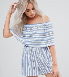 Boohoo Petite Stripe Bardot Playsuit - Blue
