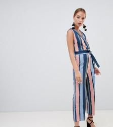 Boohoo Petite Stripe Culotte Jumpsuit - Multi