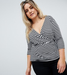 Boohoo Plus Stripe Wrap T-Shirt - Multi