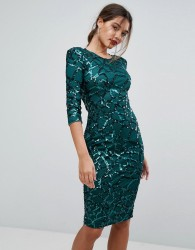 Boohoo Sequin Embellished Midi Dress - Green