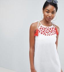 Boohoo Tassel Cami Strap Embroidered Beach Dress - Multi