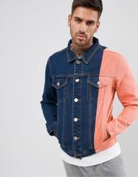 boohooMAN colourblock denim jacket in blue wash - Blue