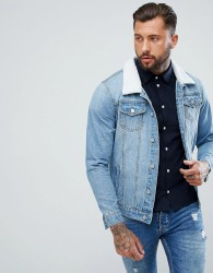 boohooMAN Denim Jacket With Borg Collar In Light Wash - Blue