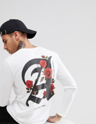 boohooMAN Long Sleeve T-Shirt With Roses Print In White - White