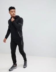 boohooMAN Skinny Fit Biker Tracksuit In Black - Black