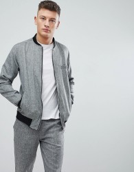 boohooMAN Skinny Fit Bomber In Grey Marl - Grey
