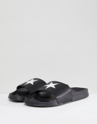 boohooMAN Sliders With Star Print In Black - Black