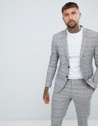 boohooMAN suit jacket in prince of wales check - Grey