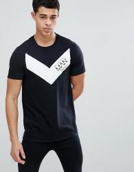 boohooMAN T-Shirt With Man Print In Black - Black