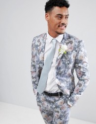 boohooMAN Wedding Skinny Fit Suit Jacket With Floral Print In Multi - Multi