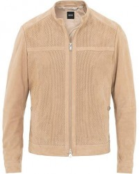 Boss Amirol Perforated Suede Jacket Beige men 54