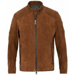 Boss Casual Jaydee Biker Jacket Dark Brown Suede