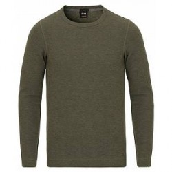 Boss Casual Tempest Fine Heather Waffle Crew Neck Pullover Green