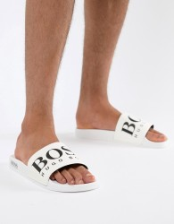 BOSS Logo Sliders in White - White