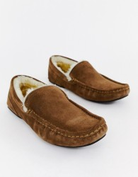 BOSS Relax suede faux shearling lined slippers in tan - Tan