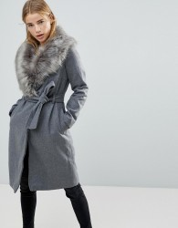 Brave Soul Ada Long Coat With Detachable Faux Fur Collar - Grey