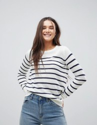 Brave Soul Crew Neck Jumper In Stripe - Cream