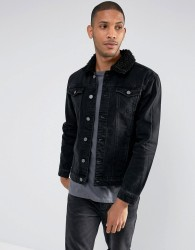 Brave Soul Denim Jacket with Borg Collar - Black