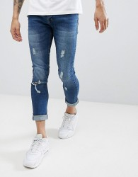 Brave Soul Fade Out Distressed Skinny Jeans - Blue