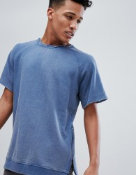 Brave Soul Jersey Washed Short Sleeve Sweat With Zide Zips - Blue
