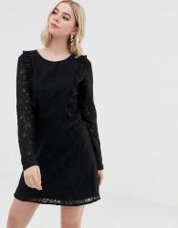 Brave Soul lace overlay long sleeve mini dress - Black
