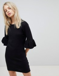 Brave Soul Orchid Jumper Dress with Frill Sleeves - Multi