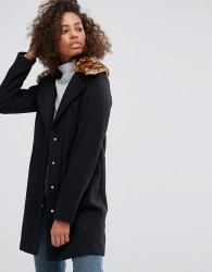 Brave Soul Pea Coat with Faux Leopard Collar - Black