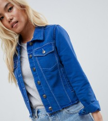Brave Soul Petite Harris Raw Coloured Denim Jacket - Blue