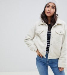 Brave Soul Petite macy trucker jacket in borg - Cream