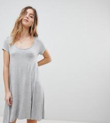 Brave Soul Petite Swing Dress with Keyhole Back Detail - Grey