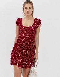 Brave Soul pinta button through dress in mini heart print - Red