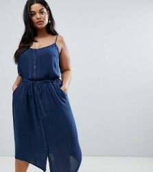 Brave Soul Plus Becky Button Through Midi Dress with Drawstrign Waist - Blue