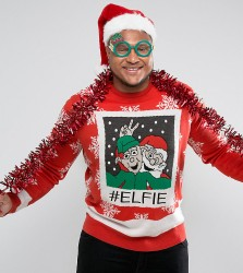 Brave Soul PLUS Christmas Elfie Jumper - Red