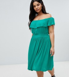 Brave Soul Plus Petal Midi Dress with Frill Bardot - Green